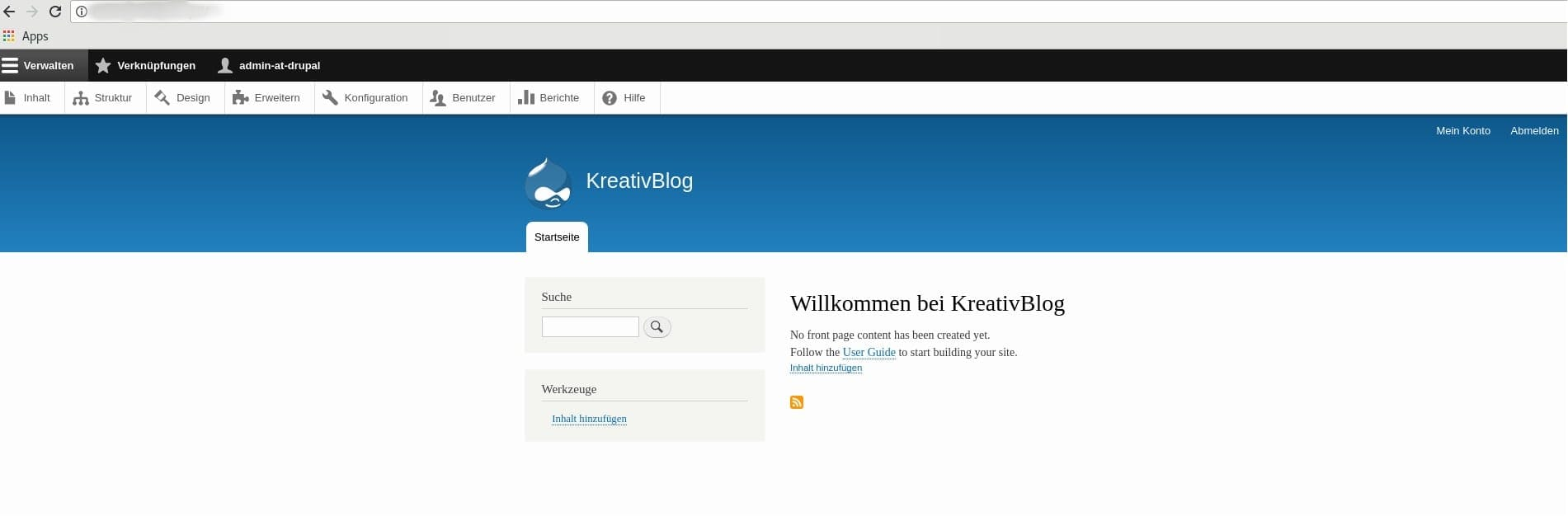 Web-Interface von Drupal