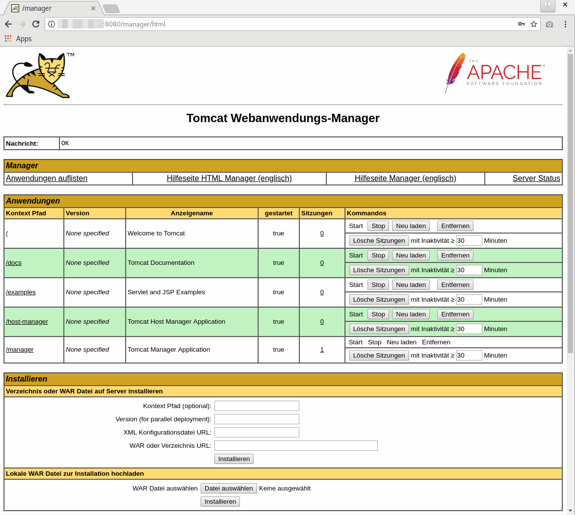 Web Application Manager Dashboard von Apache Tomcat